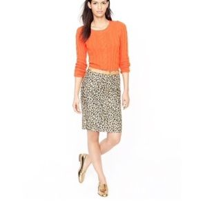 J Crew • The  Pencil Skirt Leopard Print